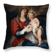 The Virgin And Child Throw Pillow by Sir Anthony Van Dyck