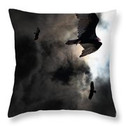 The Vultures Have Gathered In My Dreams . Version 2 Throw Pillow by Wingsdomain Art and Photography