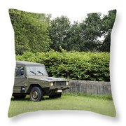 The Vw Iltis Jeep Used By The Belgian Throw Pillow by Luc De Jaeger