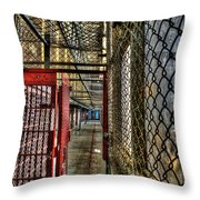 The West Virginia State Penitentiary Cell Hallway Throw Pillow by Dan Friend