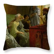 The Wine Shop Throw Pillow by Sir Lawrence Alma-Tadema
