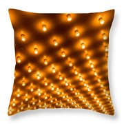 Theater Marquee Lights In Rows Throw Pillow by Paul Velgos