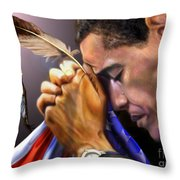 They Shall Mount Up with Wings Like Eagles -  President Obama  Throw Pillow by Reggie Duffie