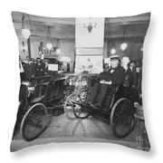 Thomas Edison In Quadricycle Throw Pillow by Photo Researchers