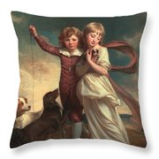 Thomas John Clavering and Catherine Mary Clavering Throw Pillow by George Romney