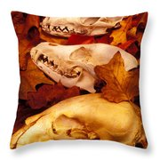 Three Animal Skulls Throw Pillow by Garry Gay