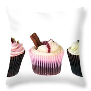 Three Cupcakes Throw Pillow by Jane Rix