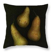 Three Golden Pears Throw Pillow by Deddeda