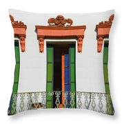 Three Of A Kind - The Windows In Old Sacramento Throw Pillow by Christine Till