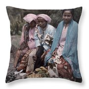 Three Women Traders Sit Throw Pillow by W. Robert Moore