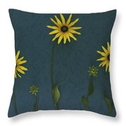 Three Yellow Flowers Throw Pillow by Deddeda