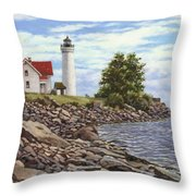 Tibbetts Point Lighthouse Throw Pillow by Richard De Wolfe