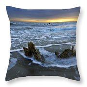 Tides At Driftwood Beach Throw Pillow by Debra and Dave Vanderlaan