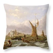 Tilbury Fort - Wind Against the Tide Throw Pillow by William Clarkson Stanfield
