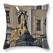 Titans Battling Outside Prague Castle Throw Pillow by Christine Till