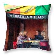 Tortilla Flats Greenwich Village Throw Pillow by Susan Savad