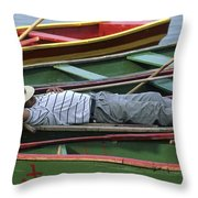 Tour Boat Guide Naps Amidst Rowboats Throw Pillow by Raymond Gehman