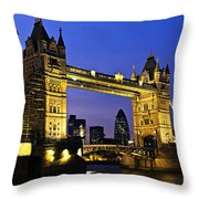 Tower bridge in London at night Throw Pillow by Elena Elisseeva