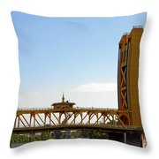 Tower Bridge Sacramento - A Golden State Icon Throw Pillow by Christine Till