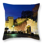 Tower Of London Walls At Night Throw Pillow by Elena Elisseeva