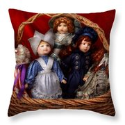 Toy - Dolls - A Basket Of Victorian Dolls Throw Pillow by Mike Savad