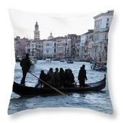 Traghetto . Gran Canal. Venice Throw Pillow by Bernard Jaubert