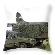 Transmission Troops Of The Belgian Army Throw Pillow by Luc De Jaeger