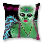 Tree Alien Throw Pillow by Tisha McGee