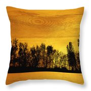Tree Line On Wood Throw Pillow by Ann Powell