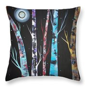 Trees And Moon Throw Pillow by Karla Gerard