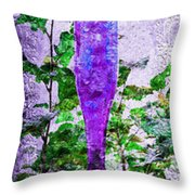 Triptych Cobalt Blue Purple And Magenta Bottles Triptych Vertical Throw Pillow by Andee Design
