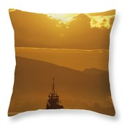 Tugboat At Sunrise, Burrard Inlet Throw Pillow by Ron Watts