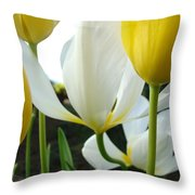 Tulip Flowers Art Prints Yellow White Tulips Floral Throw Pillow by Baslee Troutman