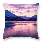 Twilight Above A Fjord In Norway With Beautifully Colors Throw Pillow by Ulrich Schade