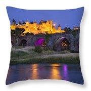 Twilight Over Carcassonne Throw Pillow by Brian Jannsen