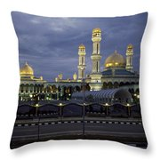 Twilight View Of An Illuminated Mosque Throw Pillow by Paul Chesley