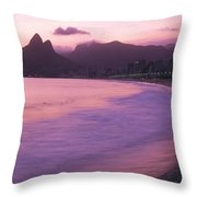 Twilight View Of Ipanema Beach And Two Throw Pillow by Michael Melford