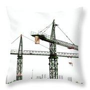 Two Cranes On A Construction Site Throw Pillow by Yali Shi