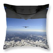 Two Ec-130j Commando Solo Aircraft Fly Throw Pillow by Stocktrek Images