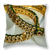 Two Green And Gold Bangles On Top Of Each Other Throw Pillow by Ashish Agarwal