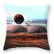 Two Jet Aircraft Fly Over Dome Throw Pillow by Corey Ford