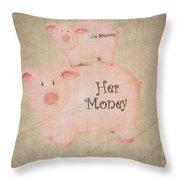 Two Little Piggies Throw Pillow by Betty LaRue