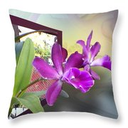 Two Orchids Throw Pillow by Ginny Schmidt