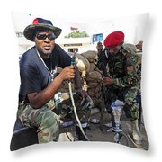 Two Rebel Fighters Man A Checkpoint Throw Pillow by Andrew Chittock