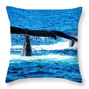 Two Whale Tails Throw Pillow by Paul Ge