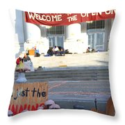 UC Berkeley . Sproul Hall . Sproul Plaza . Occupy UC Berkeley . The Is Just The Beginning . 7D10018 Throw Pillow by Wingsdomain Art and Photography