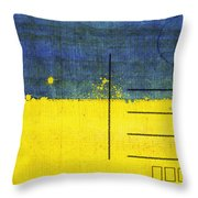 Ukraine Flag Postcard Throw Pillow by Setsiri Silapasuwanchai
