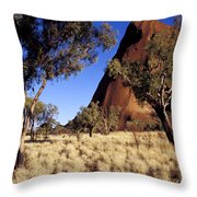 Uluru, Ayres Rock Against A Clear Blue Throw Pillow by Jason Edwards