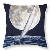 Under Full Sail..under Full Moon Throw Pillow by Jack Skinner