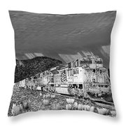 Union Pacific Diesels and Monsoon Throw Pillow by Jack Pumphrey